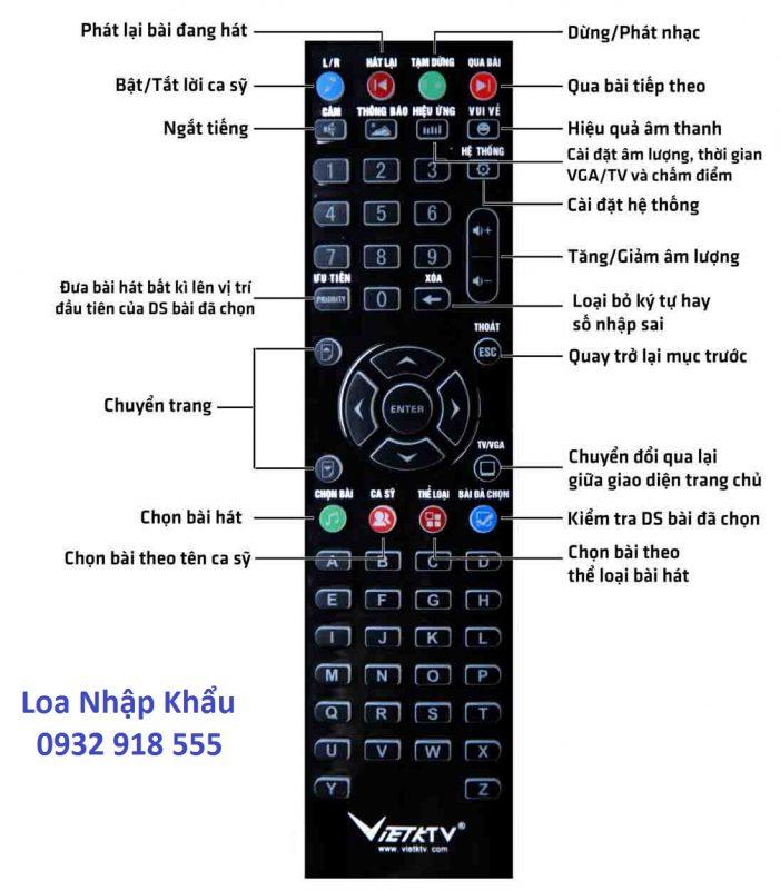 Điều khiển Đầu máy Karaoke Việt KTV HDD 2000GB