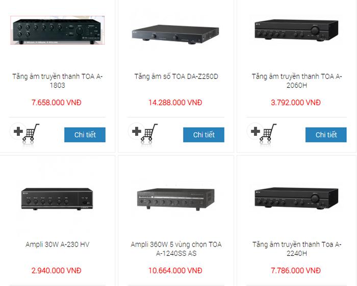 Amply Toa nhập khẩu với nhiều mức giá khác nhau