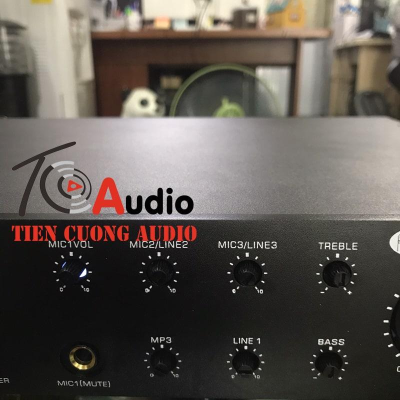 Phím chức năng tăng giảm âm lượng mic, mp3, line, âm bass và treble