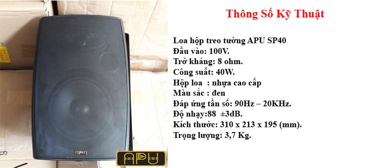 Thông số kỹ thuật của loa hộp APU SP40