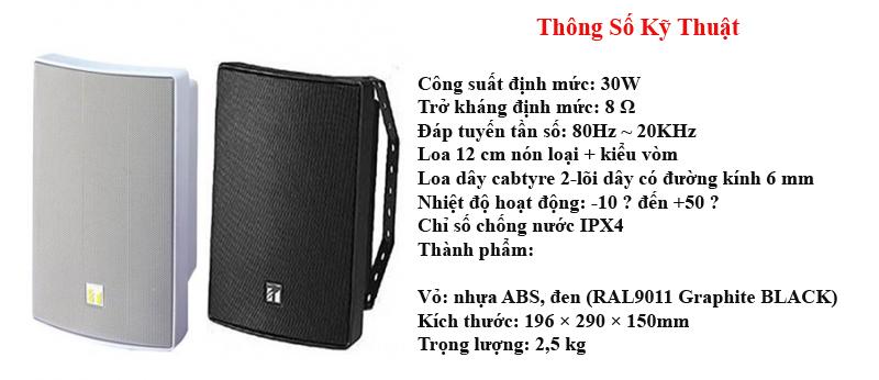 Thông số kỹ thuật của loa hộp Toa BS1030B