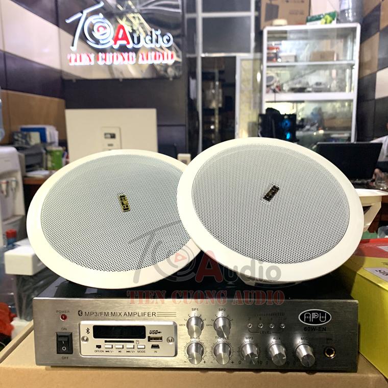 Combo 6 loa âm trần + 1 Amply 60w chuyên dùng nghe nhạc cafe cực hay với diện tích nhỏ
