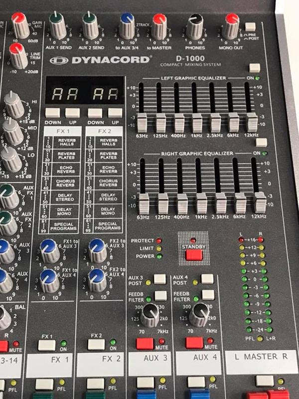 Các nút căn chỉnh trên Mixer Dynacord 1000