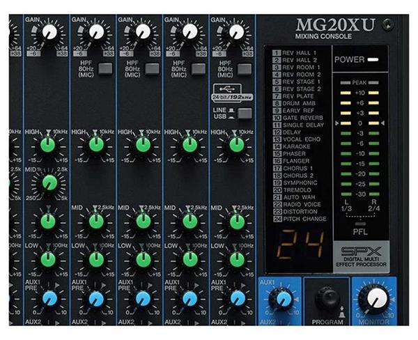 Các hiệu ứng cấu hình sẵn có của mixer yamaha 20XU