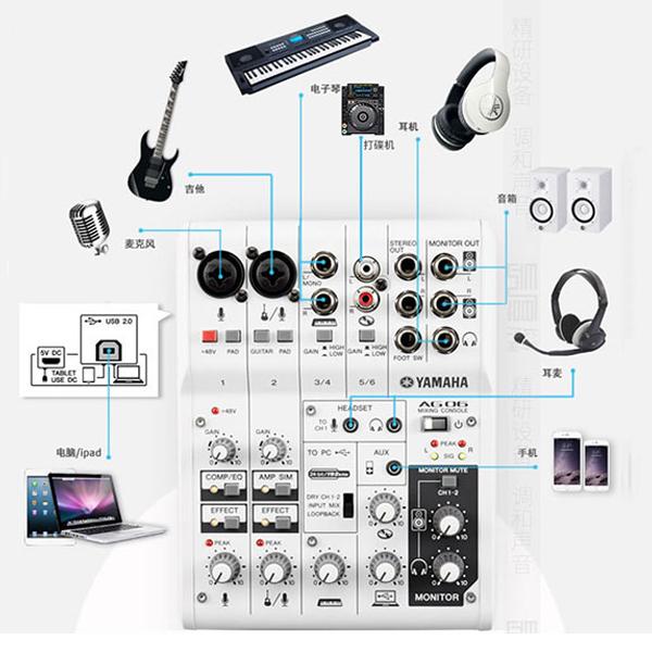 Mixer yamaha hỗ trợ kết nối các thiết bị nhạc cụ trong bộ dàn